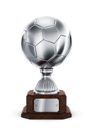3d rendering of a football trophy in silver photo