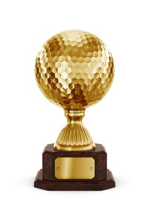 trophy cup: 3d rendering of a golf trophy in gold