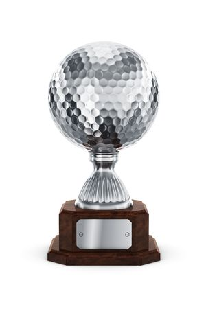 3d rendering of a golf trophy in silver photo