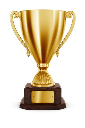 sports trophy: 3d rendering of classic trophy in gold Stock Photo