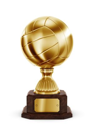 3d rendering of a volleyball trophy in gold Stock Photo