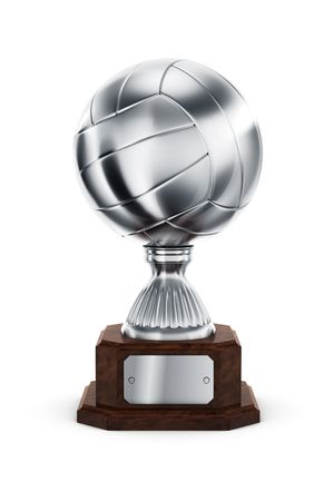 3d rendering of a volleyball trophy in silver photo