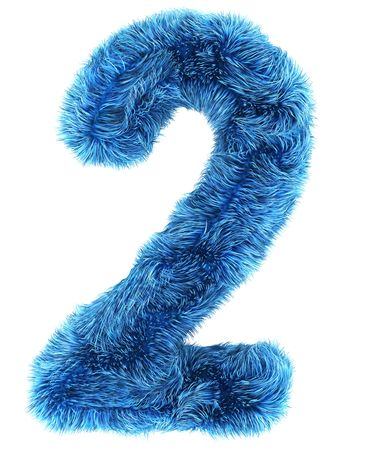 number two: 3d rendering of the number 2 in blue fur