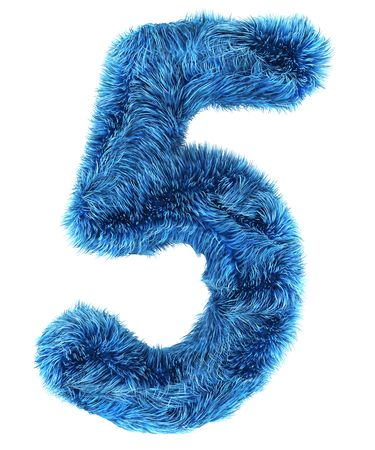 3d rendering of the number 5 in blue fur