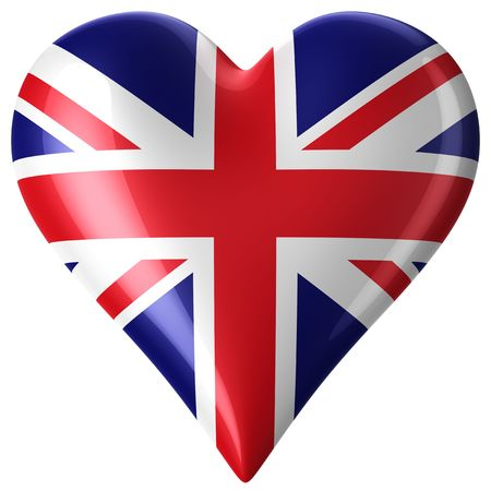 british flag: 3d rendering of a heart with union jack