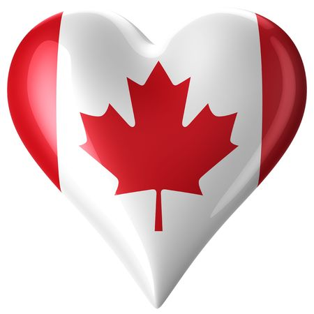 canadian flag: 3d rendering of a heart with canadian flag