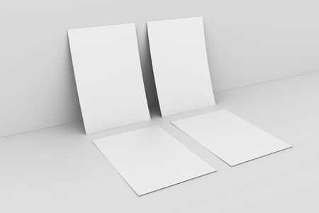 3d rendering of blank white paper against white wall Stock Photo - 5362467