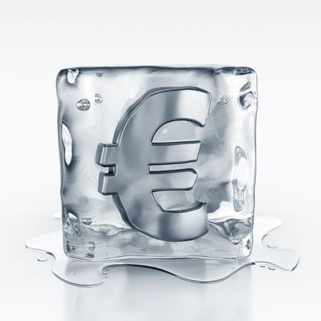 icecubes: 3d rendering of an icecube with a euro symbol inside