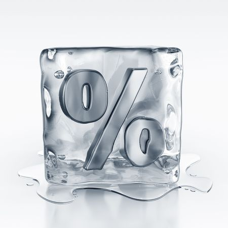 3d rendering of an icecube with a percentage symbol inside Stock Photo