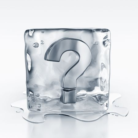 3d rendering of an icecube with a question mark symbol inside Stok Fotoğraf
