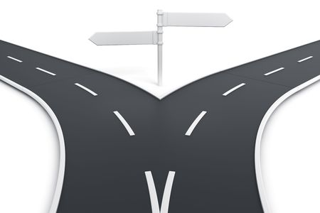 3d rendering of a road splitting with road blank signs photo