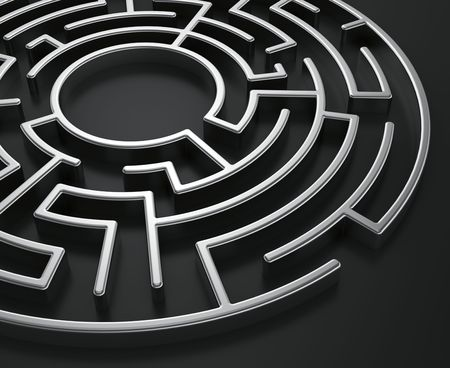 doolhof: 3D-rendering van een circulaire doolhof op een donkere achtergrond Stockfoto