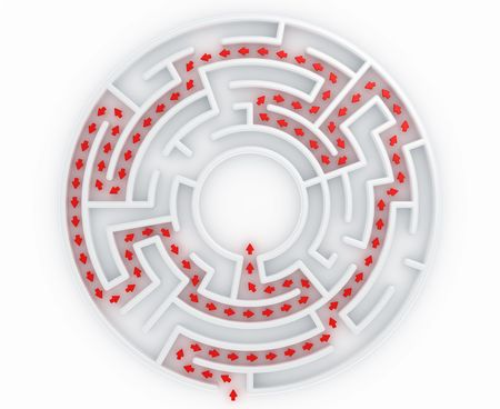 3d rendering of a maze with the correct path marked with arrows photo