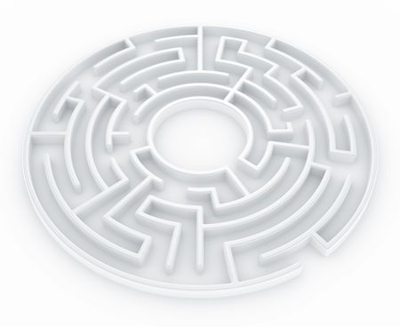 labyrinth: 3d rendering of a circular maze Stock Photo