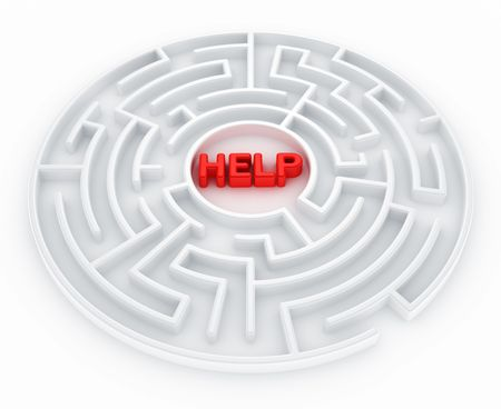 3d rendering of a maze with help written to symbolize searching for help photo