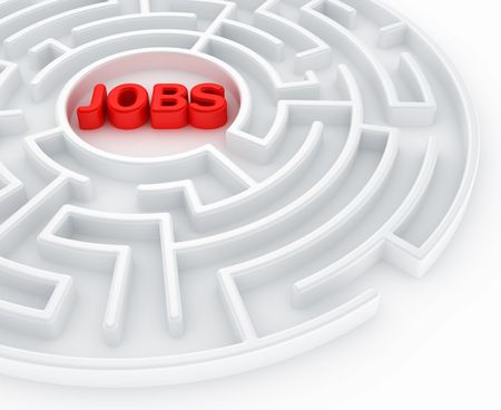 3d rendering of a maze with jobs written to symbolize searching for a job photo