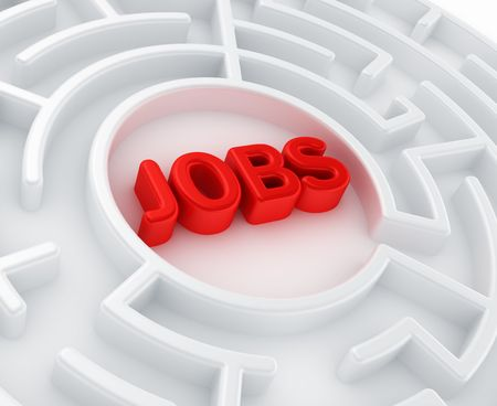 searching for: 3d rendering of a maze with jobs written to symbolize searching for a job Stock Photo