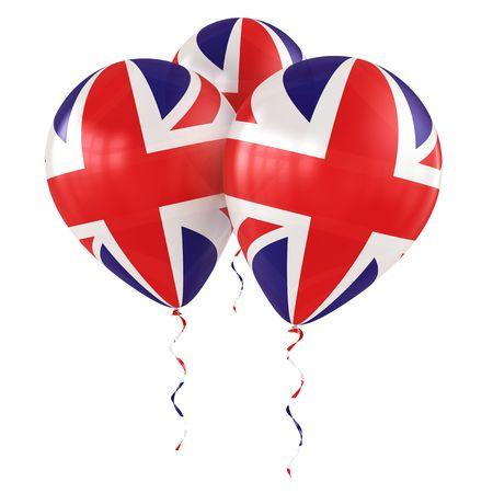 helium: 3d rendering of britsh balloons Stock Photo