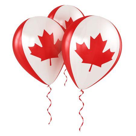 bandera blanca: Representación 3d de globos de Canadá Foto de archivo