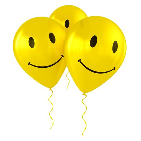 three objects: 3d rendering of three happy smiley balloons Stock Photo