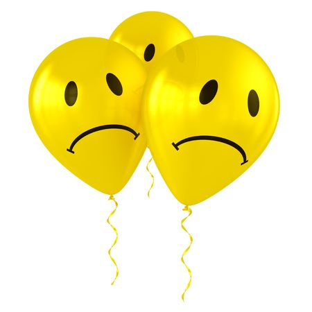 3d rendering of three sad smiley balloons