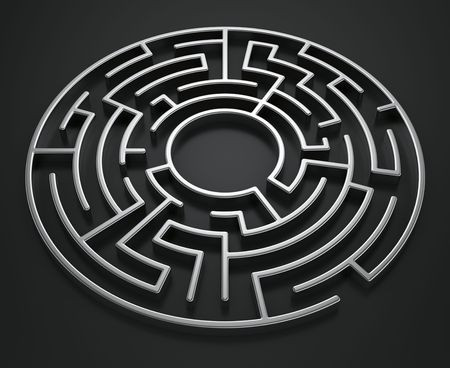labyrinth: 3d rendering of a circular maze on a dark background