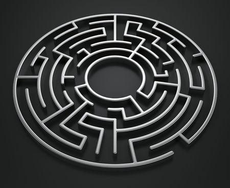 laberinto: Renderizado en 3D de un laberinto circular sobre un fondo oscuro