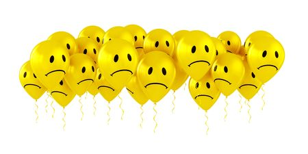 many colored: 3d rendering of sad smiley balloons