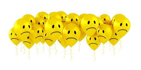 celebration smiley: 3d rendering of sad smiley balloons