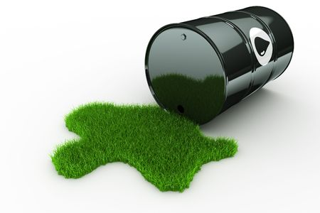 spills: 3d rendering of an oil drum spilling green grass Stock Photo