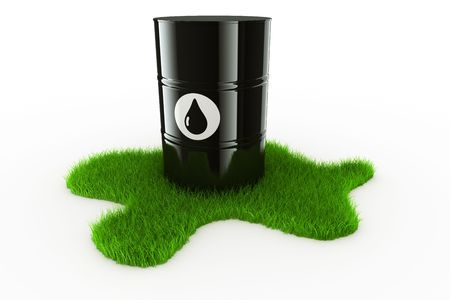 3d rendering showing an oil drum on a spot of green grass photo