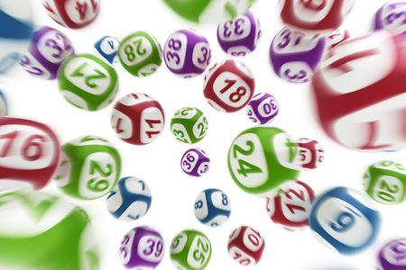 lottery: 3D-rendering van het vliegen lottoballen