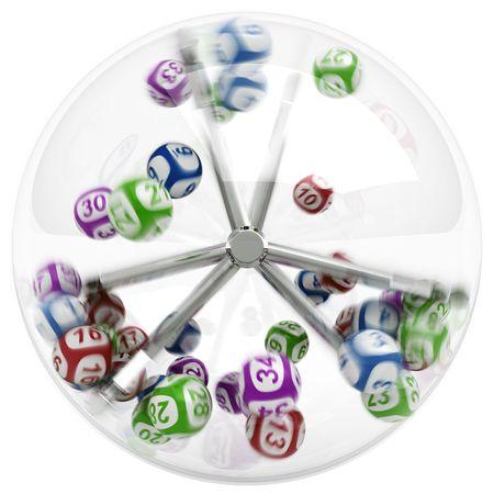 bingo: Renderizado en 3D de la m�quina de loter�a con las bolas de Foto de archivo