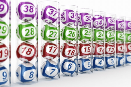 3d rendering of lottery balls in glass tubes with depth of field photo