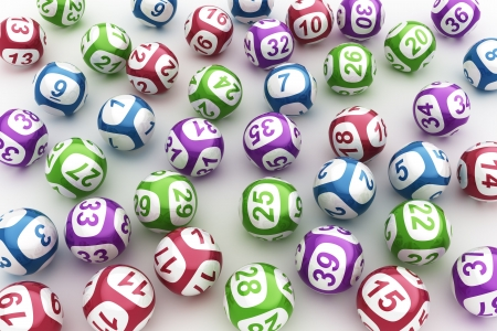 lottery win: 3d rendering of lottery balls on a white table Stock Photo