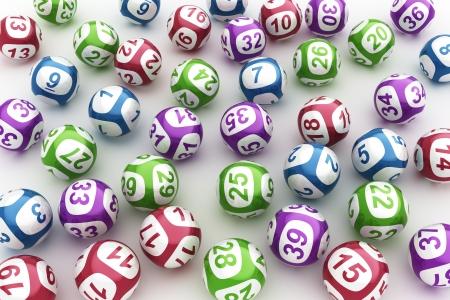 loteria: Representaci�n 3d de las bolas de la loter�a en una mesa blanca