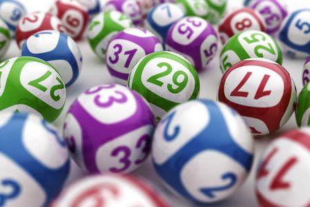 Representación 3d de las bolas de la lotería Foto de archivo