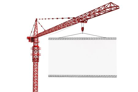 3d rendering of a tower crane with an empty sign Stock Photo