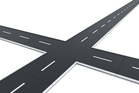 crossroads: 3d rendering of a road intersection