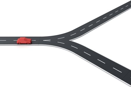 splitting: 3d rendering of a car at a road splitting