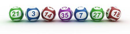 白いテーブルで抽選ボールの 3 d レンダリング