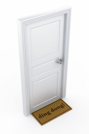 ding: 3d rendering of a door with a ding dong doormat