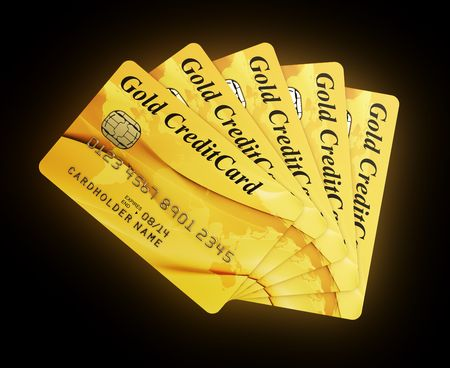 fanned: 3d rendering of gold credit cards Stock Photo
