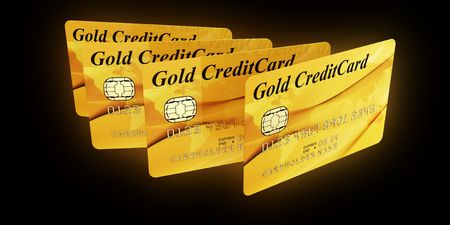 3d rendering of gold credit cards Stock Photo - 5816876