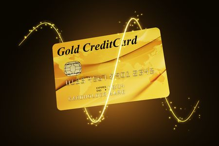 3d rendering of a gold credit card photo