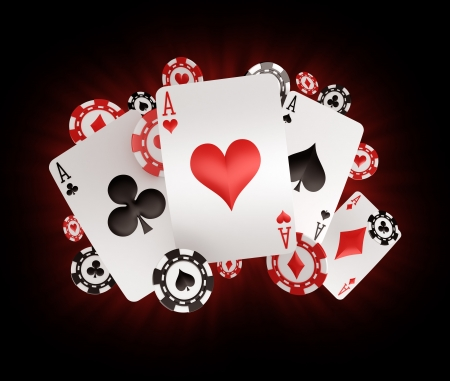 card game: 3d rendering of poker chips and cards with four aces