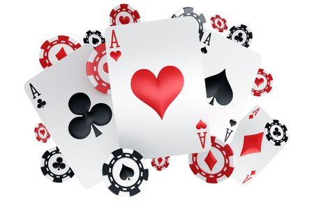 3d rendering of poker chips and cards with four aces photo