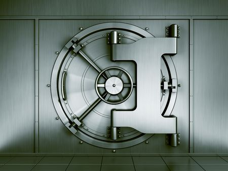 bank protection: 3d renderng of a bank vault seen straight on Stock Photo