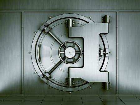 3D Renderng von einer Bank Gewölbe gesehen geradeaus
