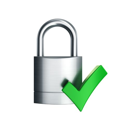 3d rendering of a padlock with green check mark Stock Photo - 6039625